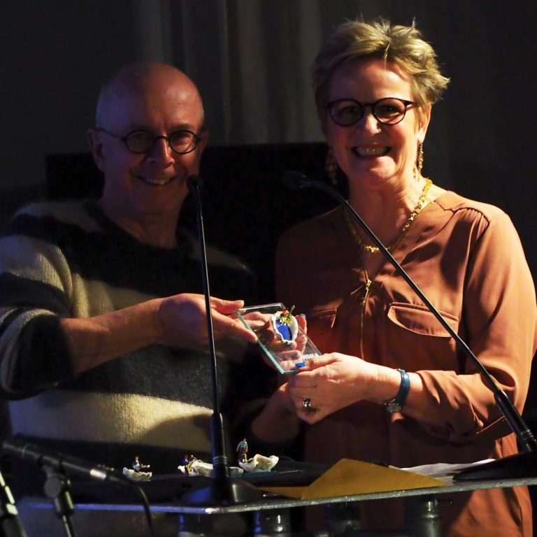 Johnny presenting WSMA to Annie Whitehead from TOTFTE